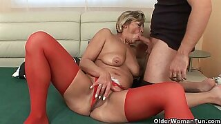 Grandma Penny twirls his soaking wet pussy and toys dog anus