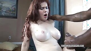Busty housewife becomes horny and deepthroats huge black dick