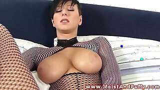 Busty solo babe pounded and ready to suck