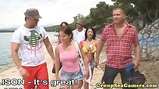 Group life at the beach loves porn movie scenes
