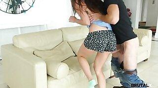 Teen sister masturbates her step bro on the floor