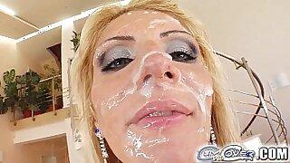 Amazing grannies cumshot over shower